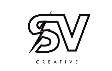 SV Letter Logo Design With Lighting Thunder Bolt. Electric Bolt Letter Logo Vector Illustration.