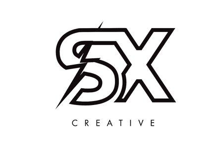 SX Letter Logo Design With Lighting Thunder Bolt. Electric Bolt Letter Logo Vector Illustration.