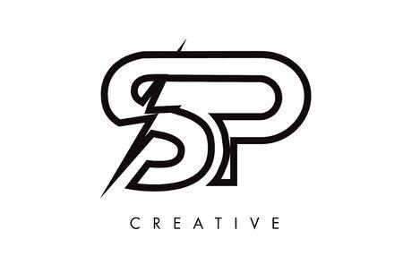 SP Letter Logo Design With Lighting Thunder Bolt. Electric Bolt Letter Logo Vector Illustration. Ilustrace