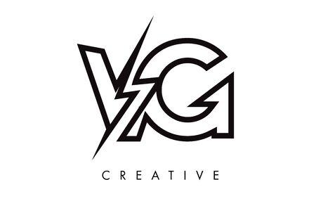 VG Letter Logo Design With Lighting Thunder Bolt. Electric Bolt Letter Logo Vector Illustration.
