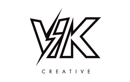 VK Letter Logo Design With Lighting Thunder Bolt. Electric Bolt Letter Logo Vector Illustration.