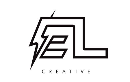 EL Letter Logo Design With Lighting Thunder Bolt. Electric Bolt Letter Logo Vector Illustration. Reklamní fotografie - 124824315