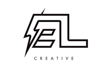 EL Letter Logo Design With Lighting Thunder Bolt. Electric Bolt Letter Logo Vector Illustration.