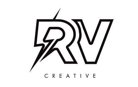RV Letter Logo Design With Lighting Thunder Bolt. Electric Bolt Letter Logo Vector Illustration. Reklamní fotografie - 124824320