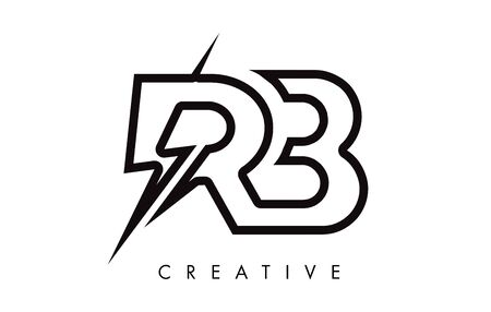 RB Letter Logo Design With Lighting Thunder Bolt. Electric Bolt Letter Logo Vector Illustration. Reklamní fotografie - 124824322