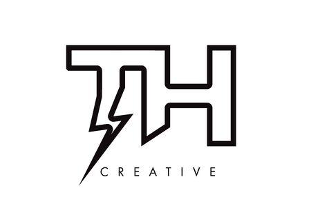 TH Letter Logo Design With Lighting Thunder Bolt. Electric Bolt Letter Logo Vector Illustration.