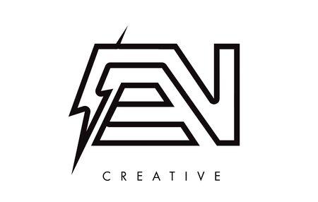 EN Letter Logo Design With Lighting Thunder Bolt. Electric Bolt Letter Logo Vector Illustration.