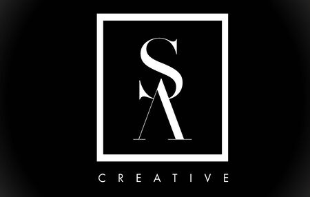 SA Letter Design Logo with Black and White Colors Trendy Vector Illustration.