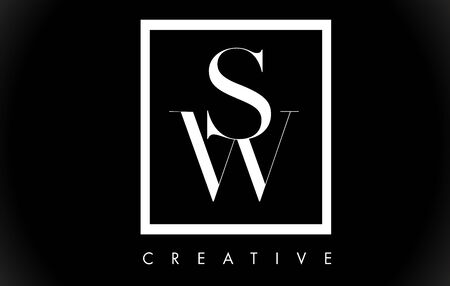 SW Letter Design Logo with Black and White Colors Trendy Vector Illustration. Illustration