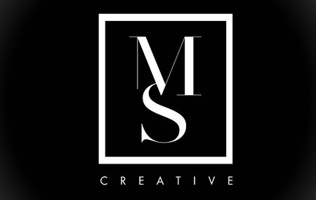 MS Letter Design Logo with Black and White Colors Trendy Vector Illustration.