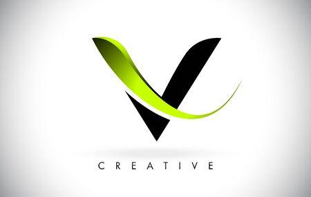 V Letter Design Logo. Letter V Icon Logo with Modern Swoosh vector Illustration.