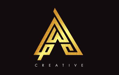 A Gold Golden  Letter Modern Trendy Design. Letter A Icon Logo with Monogram Vector Illustration.