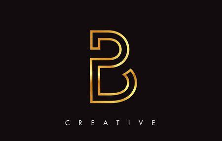 B Gold Golden Letter Modern Trendy Design. Letter B Icon with Monogram Vector Illustration.  イラスト・ベクター素材