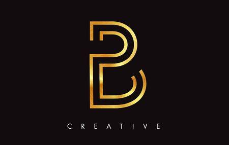 B Gold Golden  Letter Modern Trendy Design. Letter B Icon with Monogram Vector Illustration.
