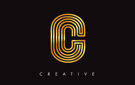 C Gold Golden Letter Modern Trendy Design. Letter C Icon  with Monogram Vector Illustration.