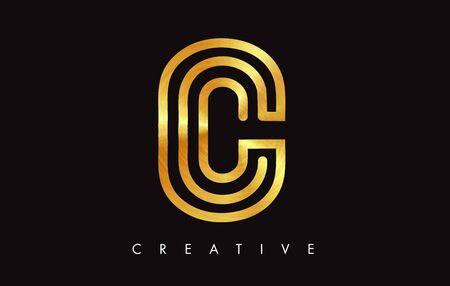 C Golden Gold Letter Modern Trendy Design. Letter C Icon with Monogram Vector Illustration.