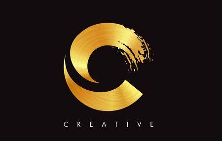 C Gold Golden Letter Modern Brush Stroke Trendy Design. Letter C Icon with Brush Vector Illustration.