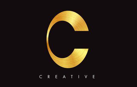 C Letter Golden Gold Modern Stroke Trendy Design. Letter C Icon  Vector Illustration.