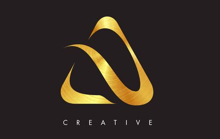 A Gold Golden Letter Modern Trendy Design. Letter A Icon with Gold Look Vector Illustration.  イラスト・ベクター素材