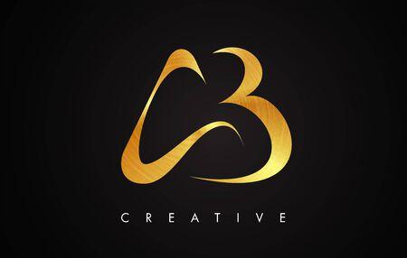 AB Gold Golden Letter Modern Stroke Trendy Design. Letter AB Icon Vector Illustration.