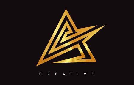 A Gold Golden Letter Modern Trendy Design. Letter A Icon with Monogram Vector Illustration.
