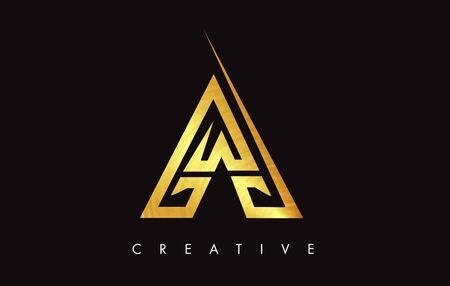 A Gold Golden  Letter Modern Trendy Design . Letter A Icon with Monogram Vector Illustration.