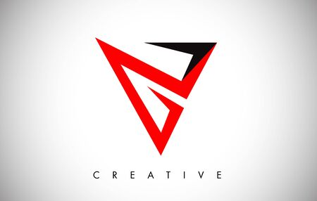 V Black and Red Letter Logo. Creative V Letter Logo Icon Design with Monogram Line Vector Illustration. V Letter Logo