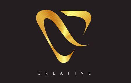 V Letter Logo Icon Design in Golden Colors Texture. V Gold Logo Modern Monogram Vector Illustration.