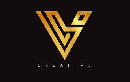 V Golden Letter Modern Trendy Design Logo. Letter V Gold Icon Logo with Monogram Vector Illustration.