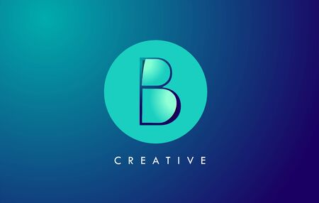 B Letter Logo Icon Design With Paper Cut Creative Look Vector Illustration in Blue Green Colors. Banco de Imagens - 132121347