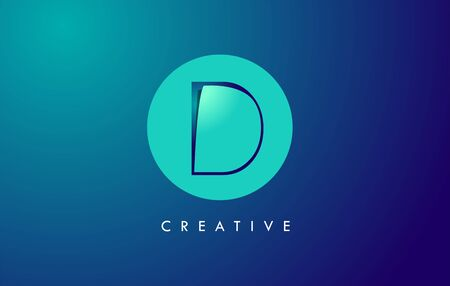 D Letter Logo Icon Design With Paper Cut Creative Look Vector Illustration in Blue Green Colors.