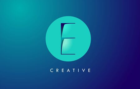 E Letter Logo Icon Design With Paper Cut Creative Look Vector Illustration in Blue Green Colors. Banco de Imagens - 132121350