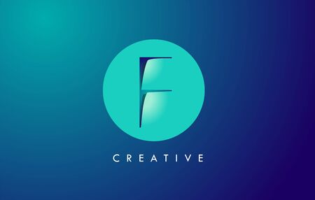 F Letter Logo Icon Design With Paper Cut Creative Look Vector Illustration in Blue Green Colors.