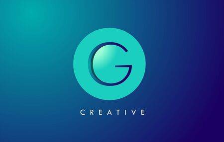 G Letter Logo Icon Design With Paper Cut Creative Look Vector Illustration in Blue Green Colors. Banco de Imagens - 132121356