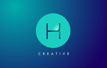 H Letter Logo Icon Design With Paper Cut Creative Look Vector Illustration in Blue Green Colors.