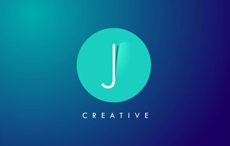 J Letter Logo Icon Design With Paper Cut Creative Look Vector Illustration in Blue Green Colors. Banco de Imagens - 132121354