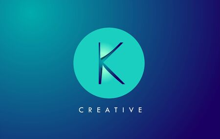 K Letter Logo Icon Design With Paper Cut Creative Look Vector Illustration in Blue Green Colors. Banco de Imagens - 132121353