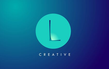 L Letter Logo Icon Design With Paper Cut Creative Look Vector Illustration in Blue Green Colors.