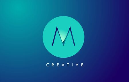 M Letter Logo Icon Design With Paper Cut Creative Look Vector Illustration in Blue Green Colors. Banco de Imagens - 132121362