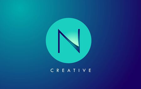 N Letter Logo Icon Design With Paper Cut Creative Look Vector Illustration in Blue Green Colors. Banco de Imagens - 132121365