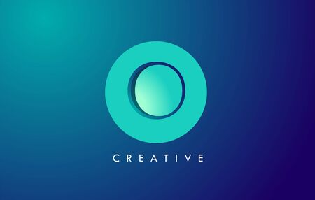 O Letter Logo Icon Design With Paper Cut Creative Look Vector Illustration in Blue Green Colors.