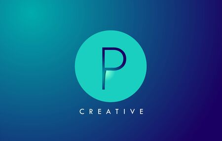 P Letter Logo Icon Design With Paper Cut Creative Look Vector Illustration in Blue Green Colors. Banco de Imagens - 132121367