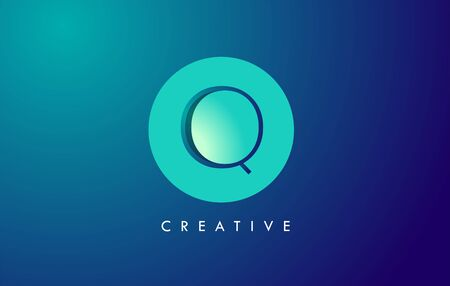 Q Letter Logo Icon Design With Paper Cut Creative Look Vector Illustration in Blue Green Colors.