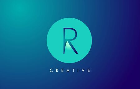 R Letter Logo Icon Design With Paper Cut Creative Look Vector Illustration in Blue Green Colors.