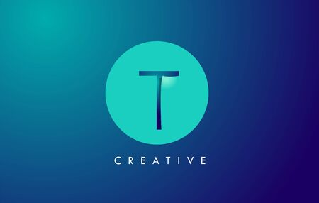 T Letter Logo Icon Design With Paper Cut Creative Look Vector Illustration in Blue Green Colors.