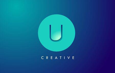 U Letter Logo Icon Design With Paper Cut Creative Look Vector Illustration in Blue Green Colors. Ilustração