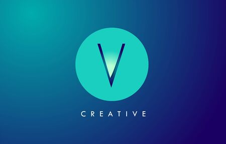 V Letter Logo Icon Design With Paper Cut Creative Look Vector Illustration in Blue Green Colors.