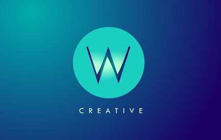 W Letter Logo Icon Design With Paper Cut Creative Look Vector Illustration in Blue Green Colors.