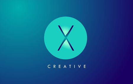 X Letter Logo Icon Design With Paper Cut Creative Look Vector Illustration in Blue Green Colors.