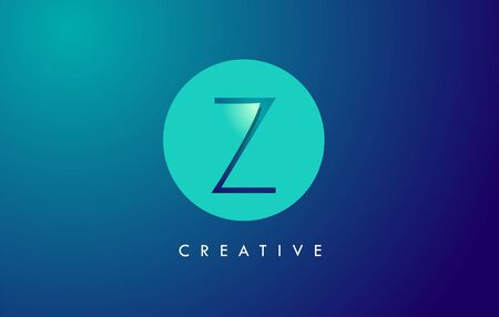 Z Letter Logo Icon Design With Paper Cut Creative Look Vector Illustration in Blue Green Colors. Banco de Imagens - 132121555